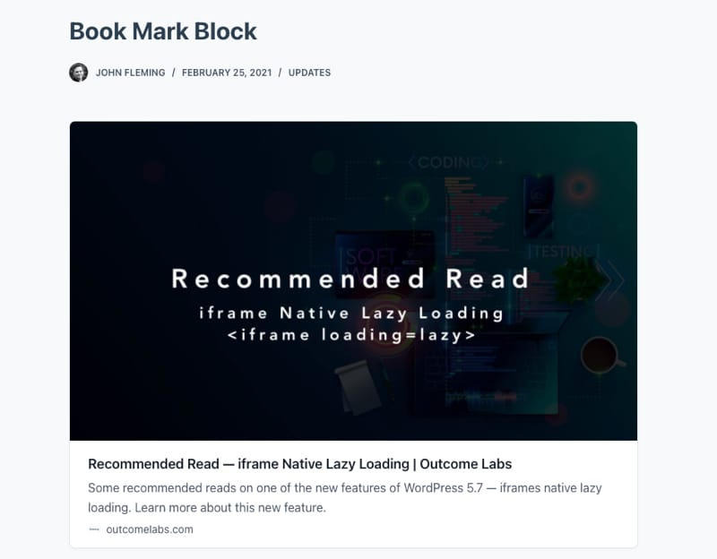 Book Mark Card Block