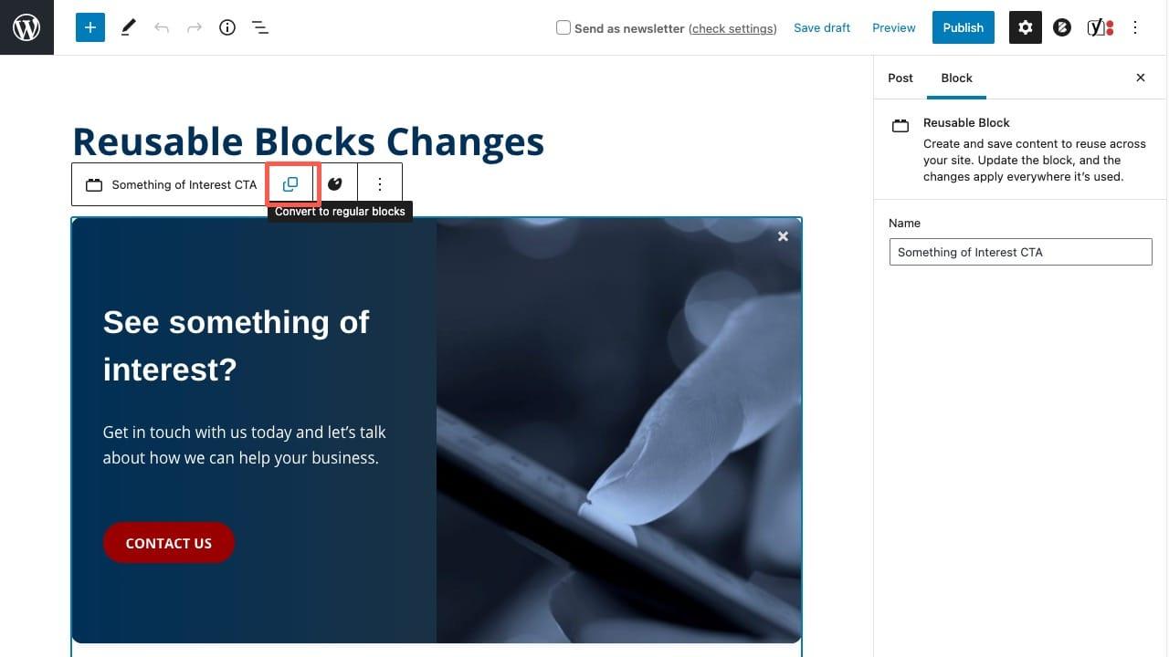 Convert a reusable block to regular blocks