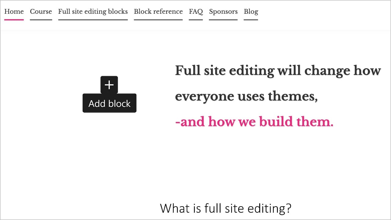 Full Site Editing