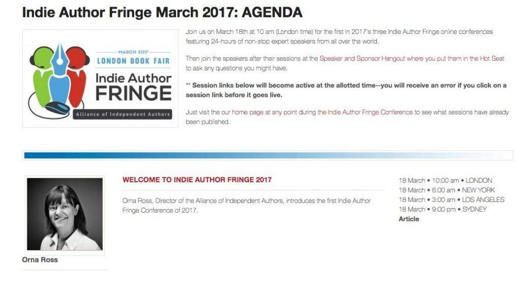Indie Author Fringe March 2017 Agenda