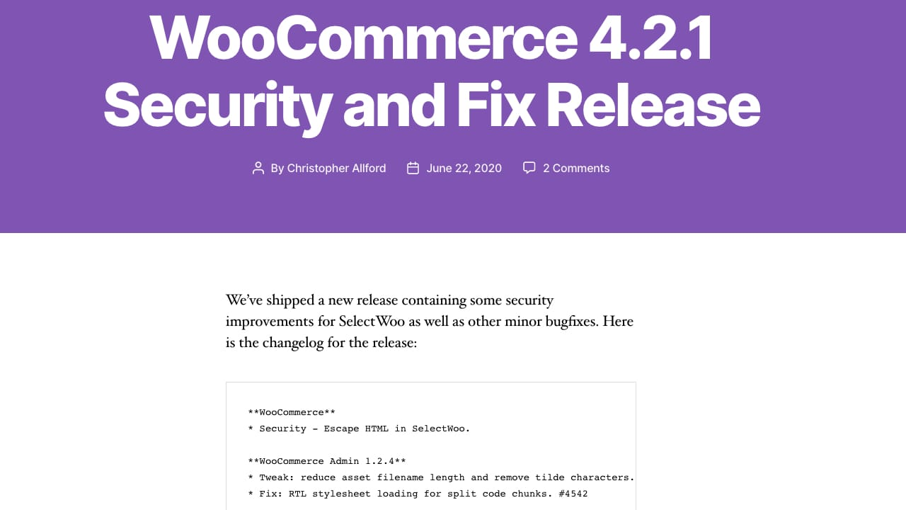 WooCommerce 4.2.1 Update is Available