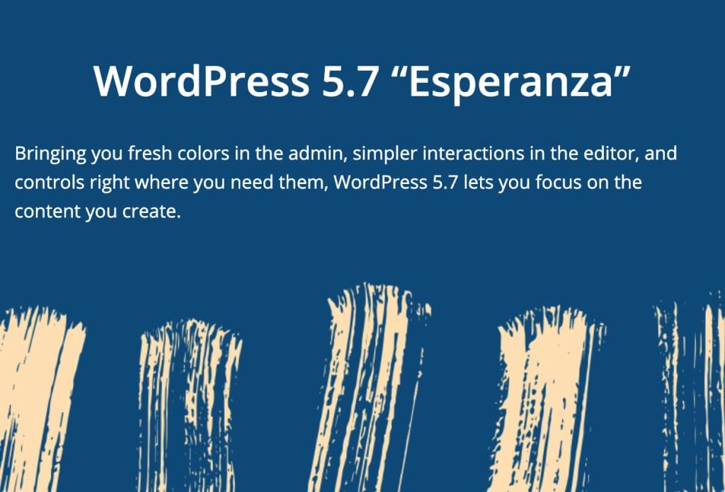 "Wordpress 5.7 ""Esperanza"" Intro Banner"