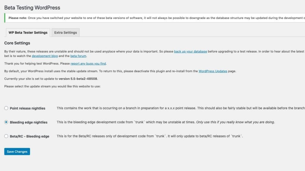 Wordpress Beta Tester Plugin Settings