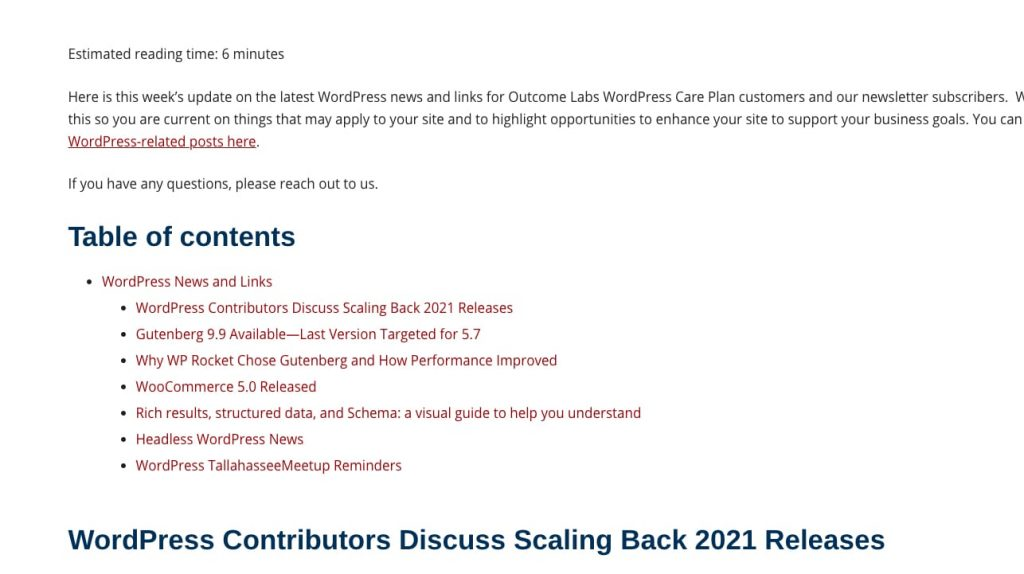 Yoast Table of Contents Block